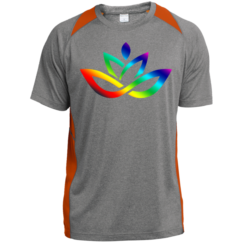 Rainbow Heather Colorblock Poly T-Shirt