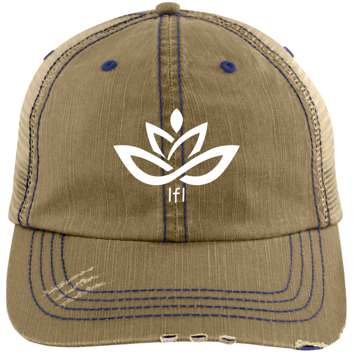 Distressed Trucker Cap- White LfL Lotus Logo