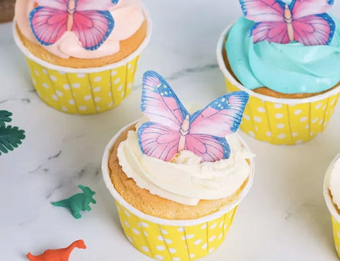 Cake Craft - Pink & Purple Butterfly Wafer Toppers