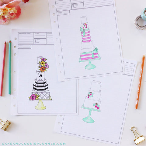 Cake and Cookie Planner Elements Cake Sketching Templates