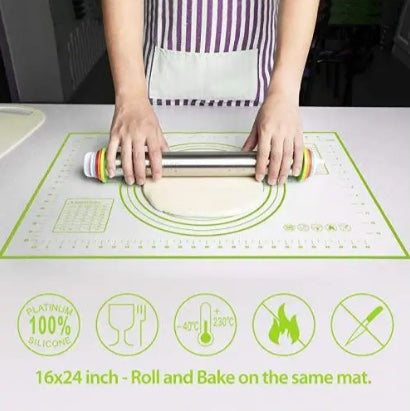 Silicone Pastry Mat, Extra Large Non Slip with Measurement Non Stick, Large and Thick, for Fondant, Rolling Dough, Pie Crust, Pizza and Cookies - 41cm x 60cm - Green