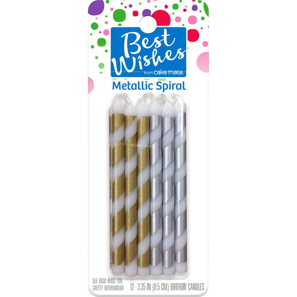 Cake Mate - Best Wishes - Metallic Spiral Birthday Candles 12/Pkg