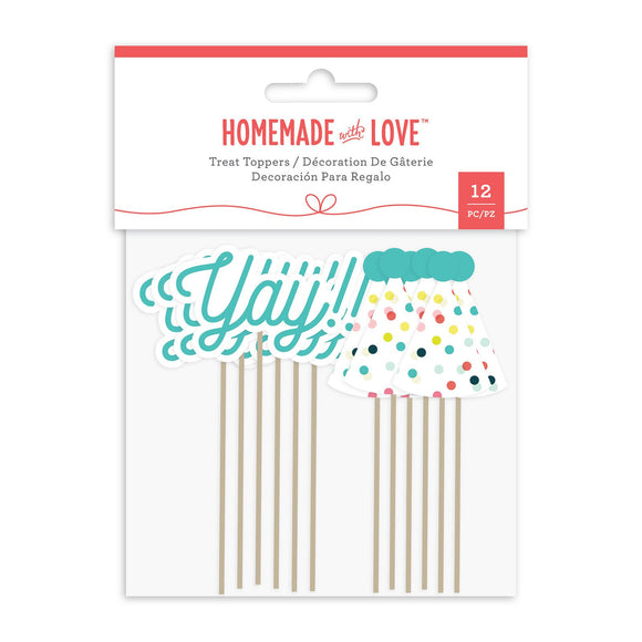Homemade With Love - Treat Toppers - Yay & Party Hat (12 pieces)