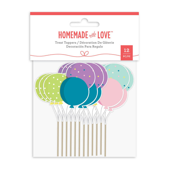 Homemade With Love - Cupcake Toppers Balloons (12 Pieces)