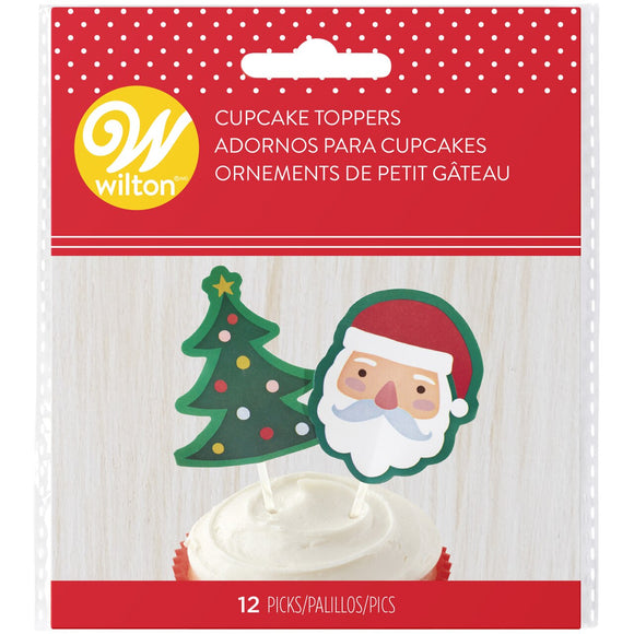 Wilton - Santa and Tree Baking Cup Picks 12pc