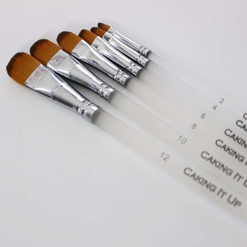 Caking It Up - Flat Tip Brush Set - 6 Pack