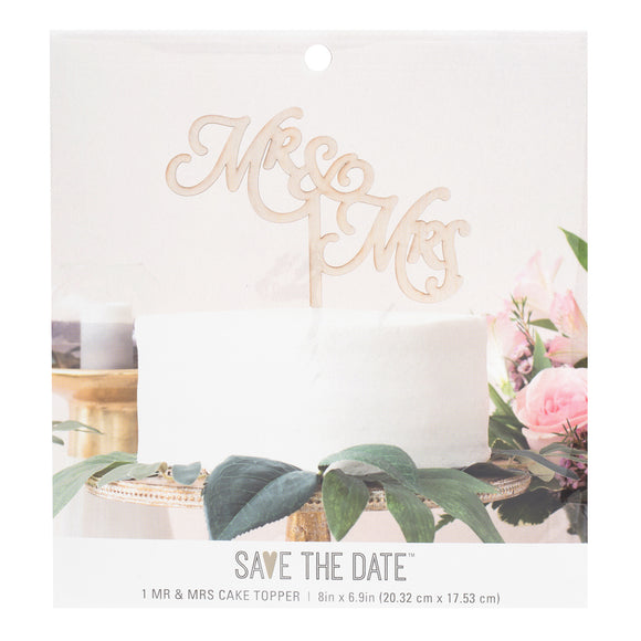 American Crafts - Save the Date 8''x6.9'' Wooden Mr & Mrs Cake Topper