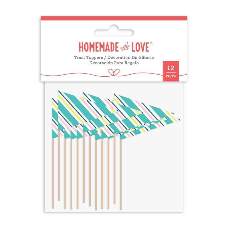 Homemade With Love - Cupcake Toppers Party Flags (12 Pieces)