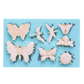 Sugar Shapes - Silicone Mould Butterfly & Bug Assorted 8pc