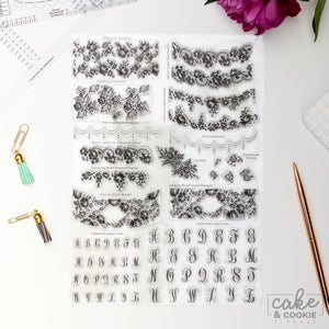 Cake and Cookie Planner Lace and Monogram Cake Stamps