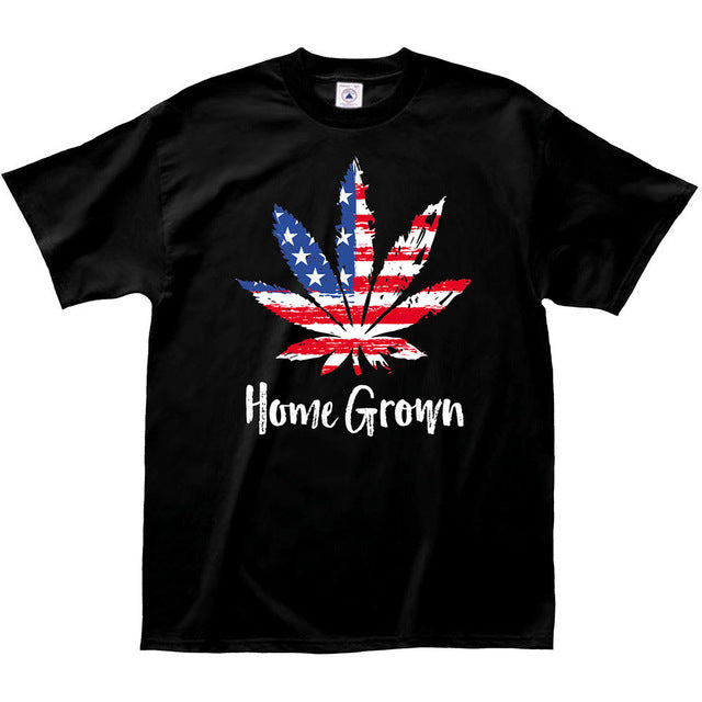 Grown Pot Leaf Flag T-Shirt Weed-Lucky Chuckie dc