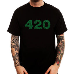Clothing Tops 420 Green Cannabier Logo Weed Funny Minimalistic Printed Cotton Men'S T-Shirtmale Tees-Lucky Chuckie dc