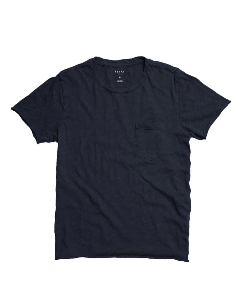 Slub Cotton Pocket Tee - Navy