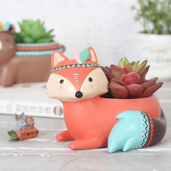 Brown Fox Resin Succulent Pot