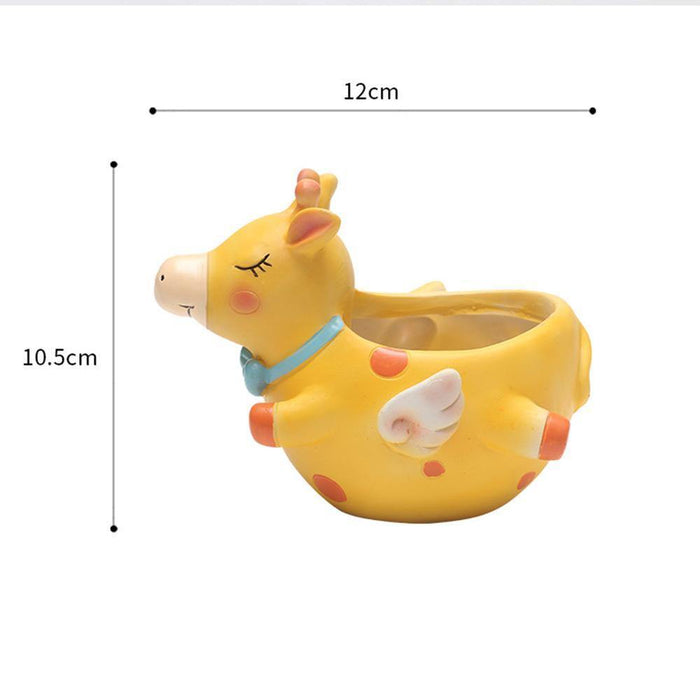 Happy Cow Yellow Color Resin Succulent Pot
