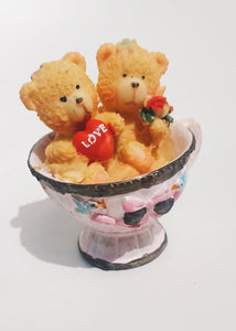 Teddy Couple Mug Resin Showpiece