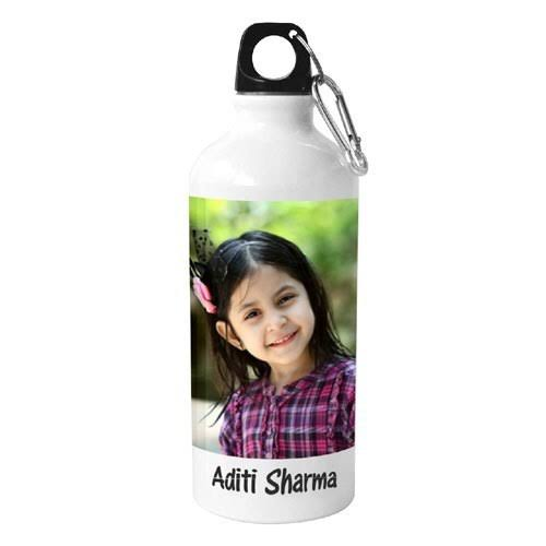 Personalised Printed Aluminium Sports Sipper/Water Bottle Photo and Name Customized (White, 300 ml) - eLocalshop