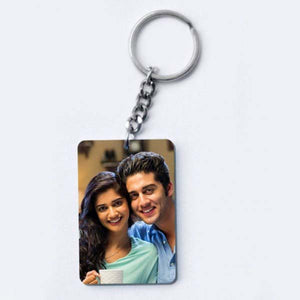 One Sided Personalised Photo Keychain Customised with Photo Unique Birthday Key Chain (Multicolour)