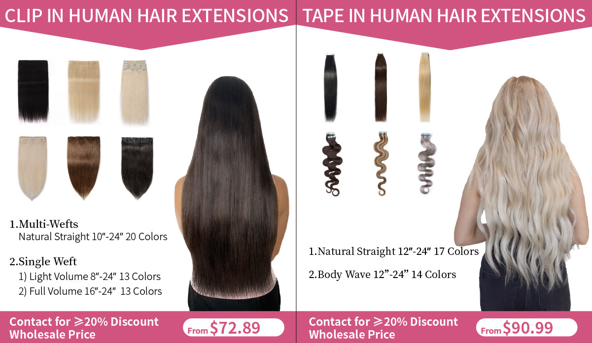 E-litchi clip in & tape in human hair extension