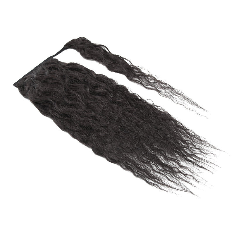 E-litchi Wrap Around Curly Natural Black Ponytail