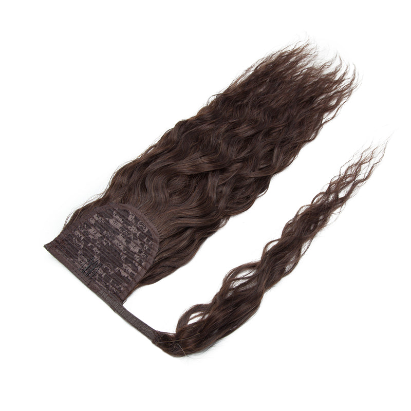 Ponytail Human Hair Extensions Curly Dark Brown Wrap Around