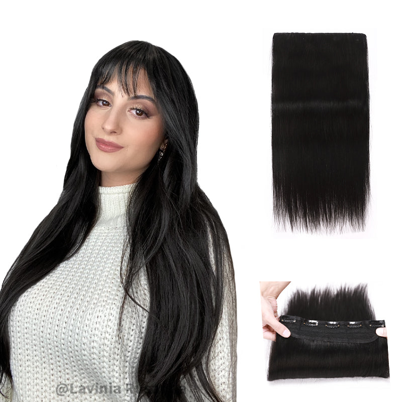 Black Clip In Human Hair Extensions Natural Straight Single Weft Full Volume