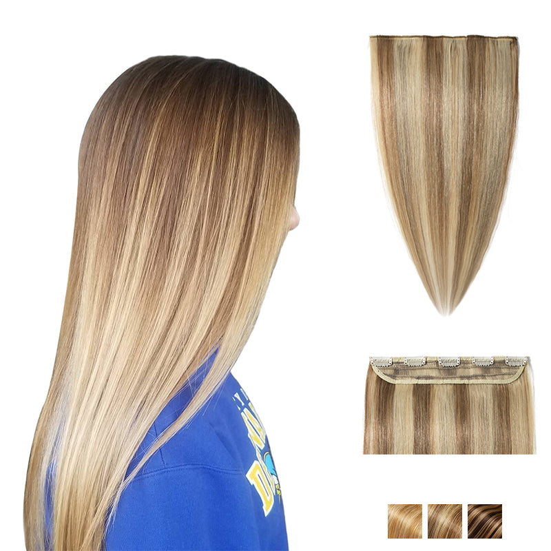 Bronde Highlights Clip In Human Hair Extensions Single Weft Light Volume