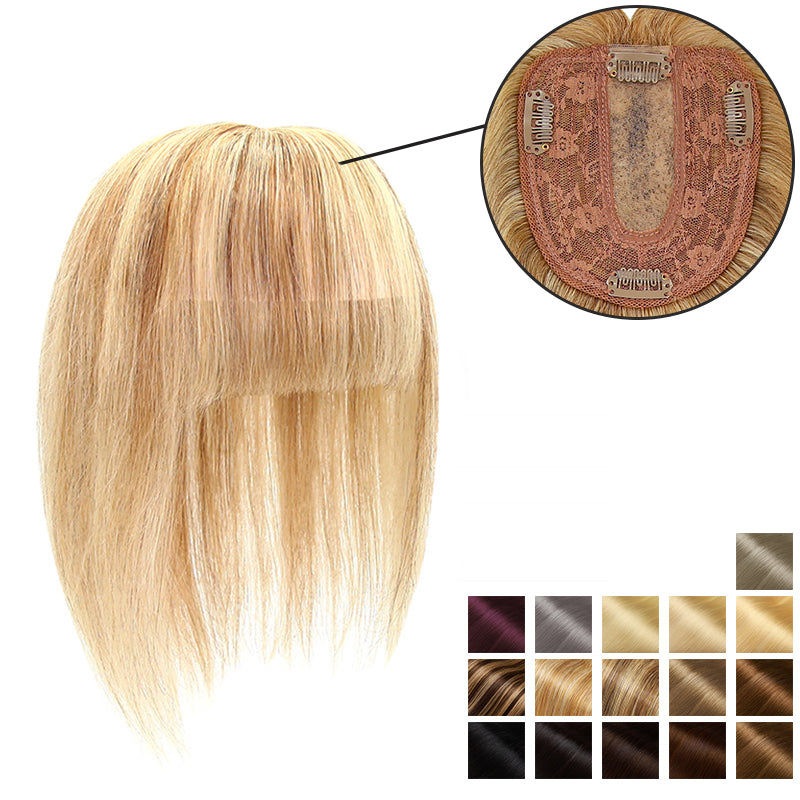 Human Hair Topper With Bang For Women Thinning Crown 10*12 Base All Shades