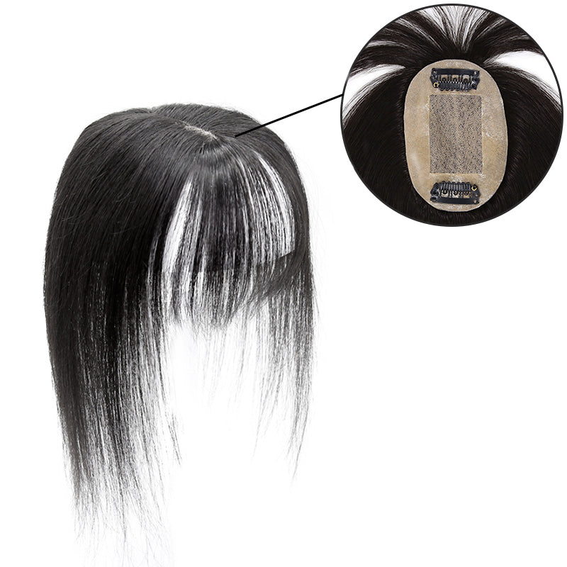 Human Hair Topper With Bang For Women Thinning Crown 6*9 Silk Base Natural Black