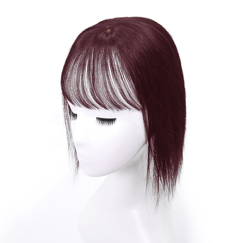 Wine Red Human Hair Topper With Bang For Women Thinning Crown 10*12 Base