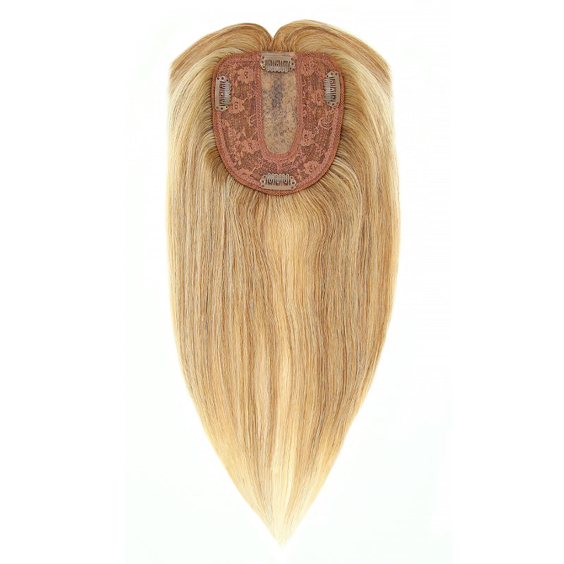 Blonde Highlights Human Hair Topper With Bang For Women Thinning Crown 10*12 Base