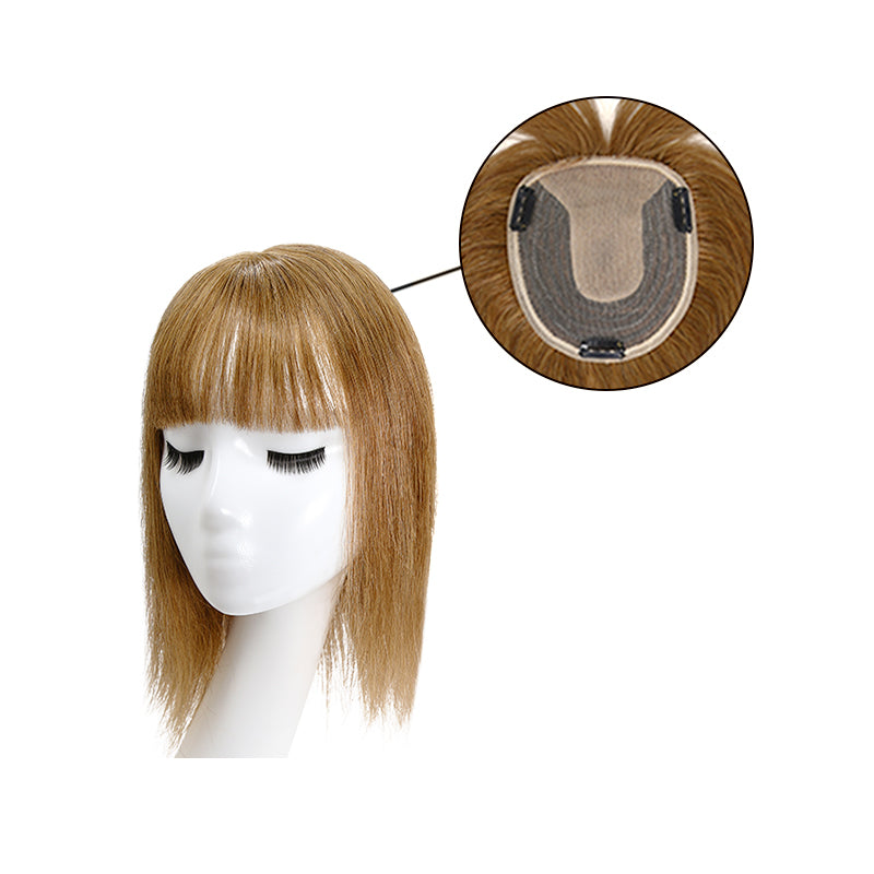 Human Hair Topper With Bang For Thinning Crown Small Crown All Shades