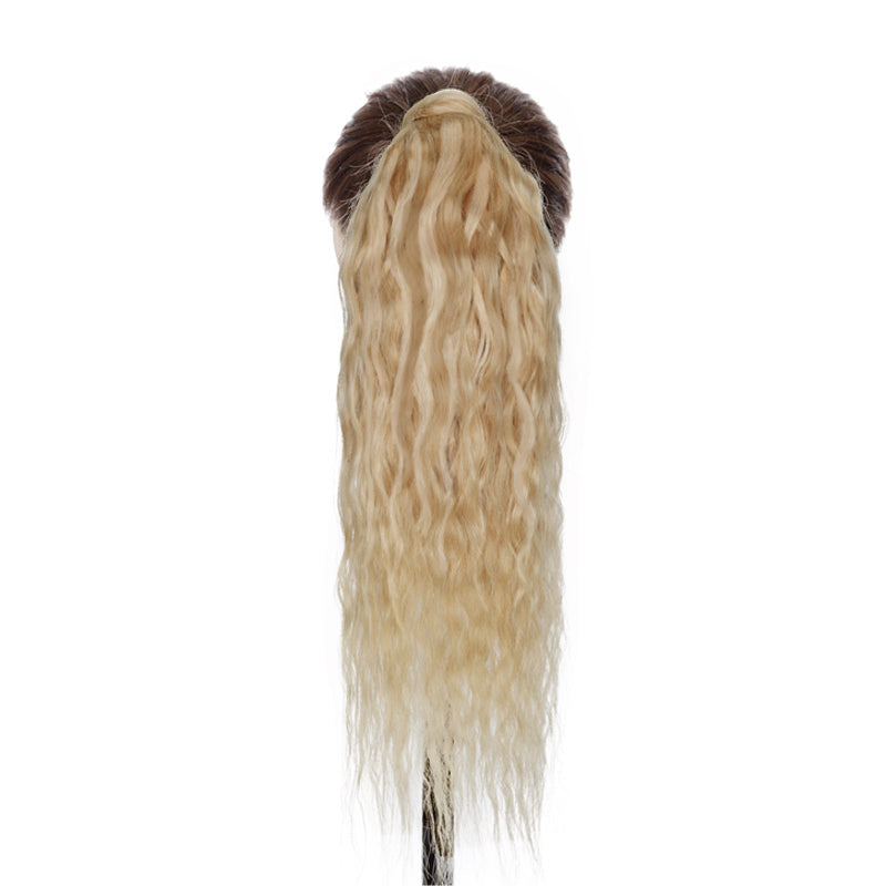 E-litchi Ponytail Human Hair Extensions Curly Blonde Highlight Wrap Around