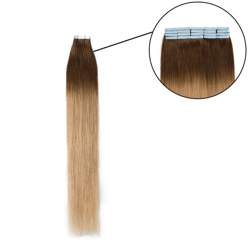 E-litchi Tape In Human Hair Extension Brown Ombre Blonde
