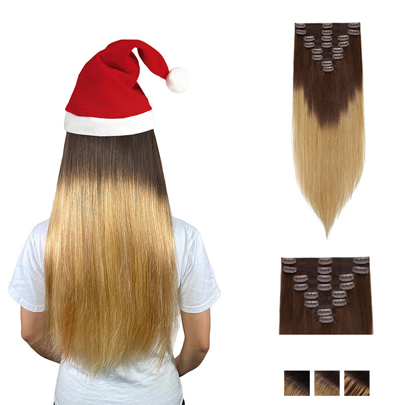 Ombre Clip In Human Hair Extensions Natural Straight Multi Wefts Full Volume