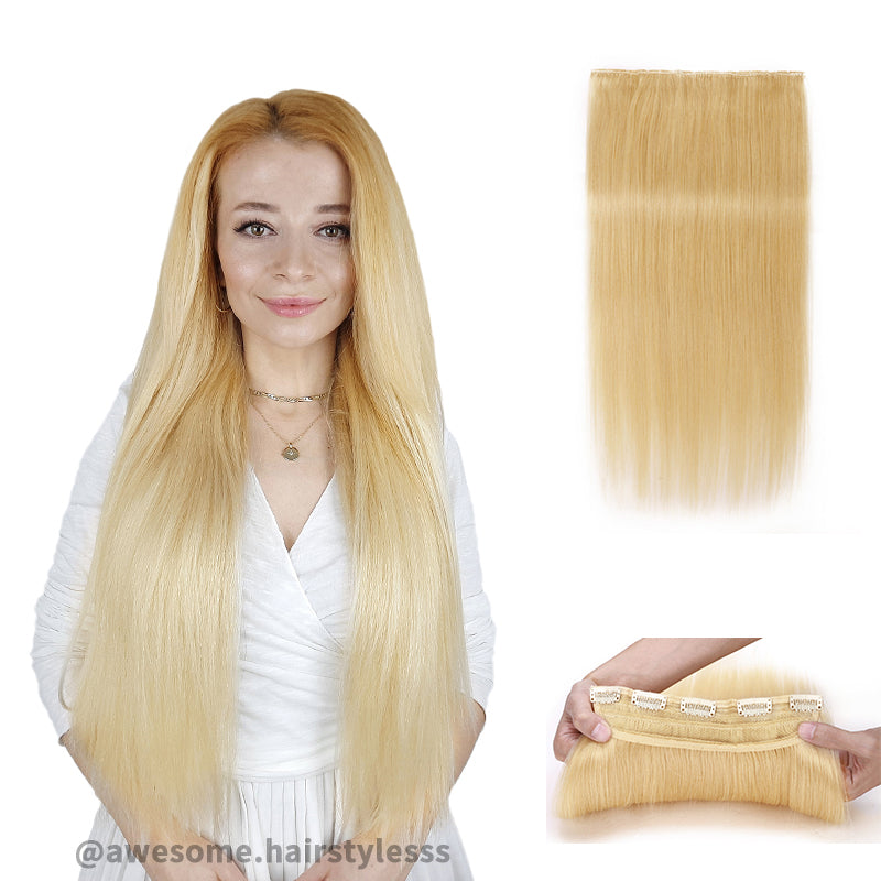 Blonde Clip In Human Hair Extensions Natural Straight Single Weft Full Volume