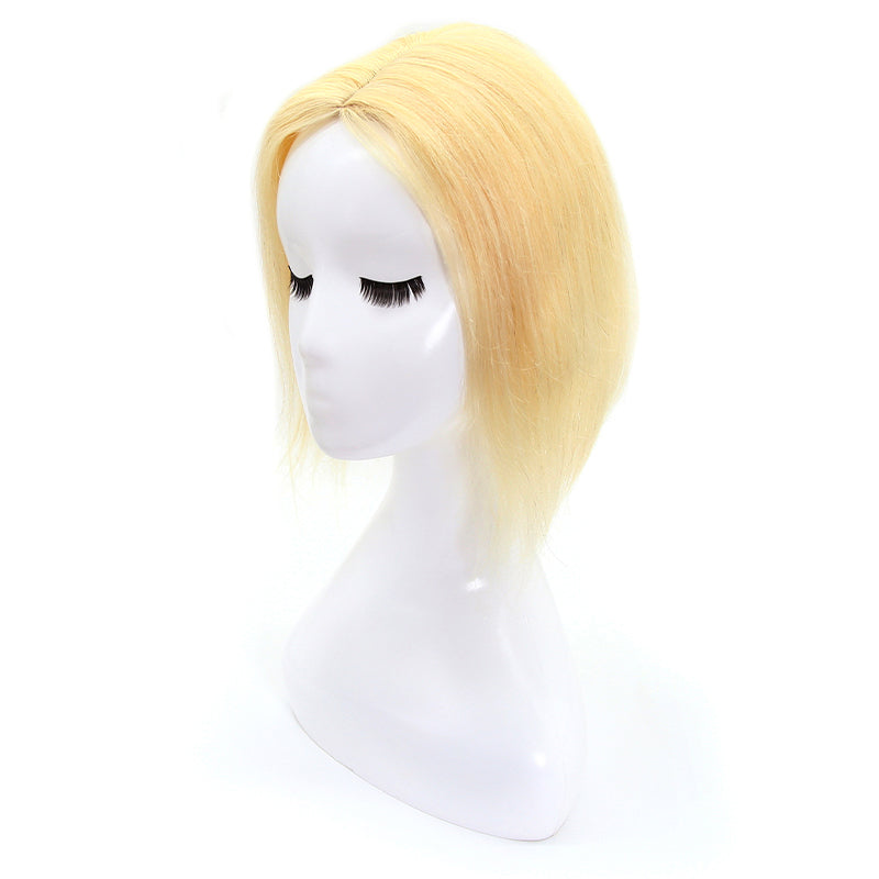 Natural Blonde Human Hair Topper For Women Thinning Crown 10*12 Silk Base