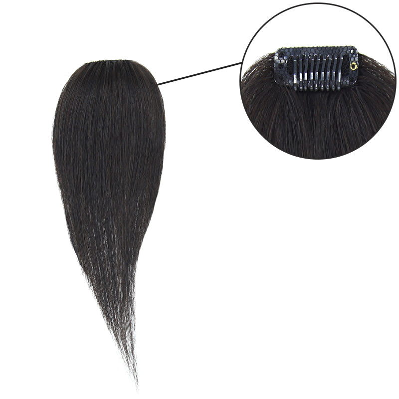 Single Clip In Human Hair Bang Full Fringe Left Hair Strand