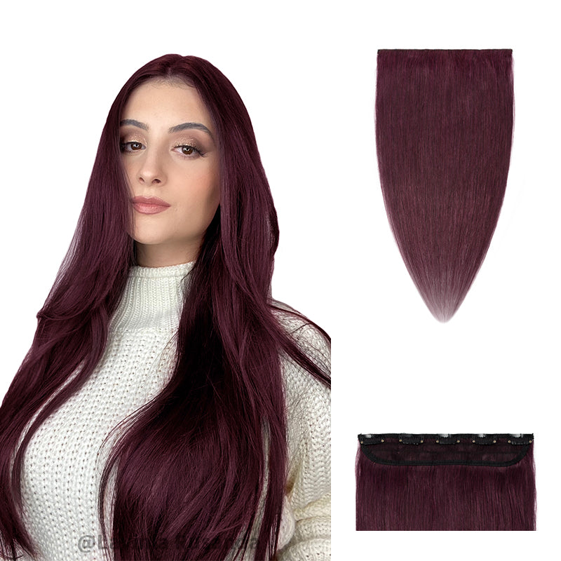 Clip Ins Human Hair Extension Single Weft Wine Red Light Volume