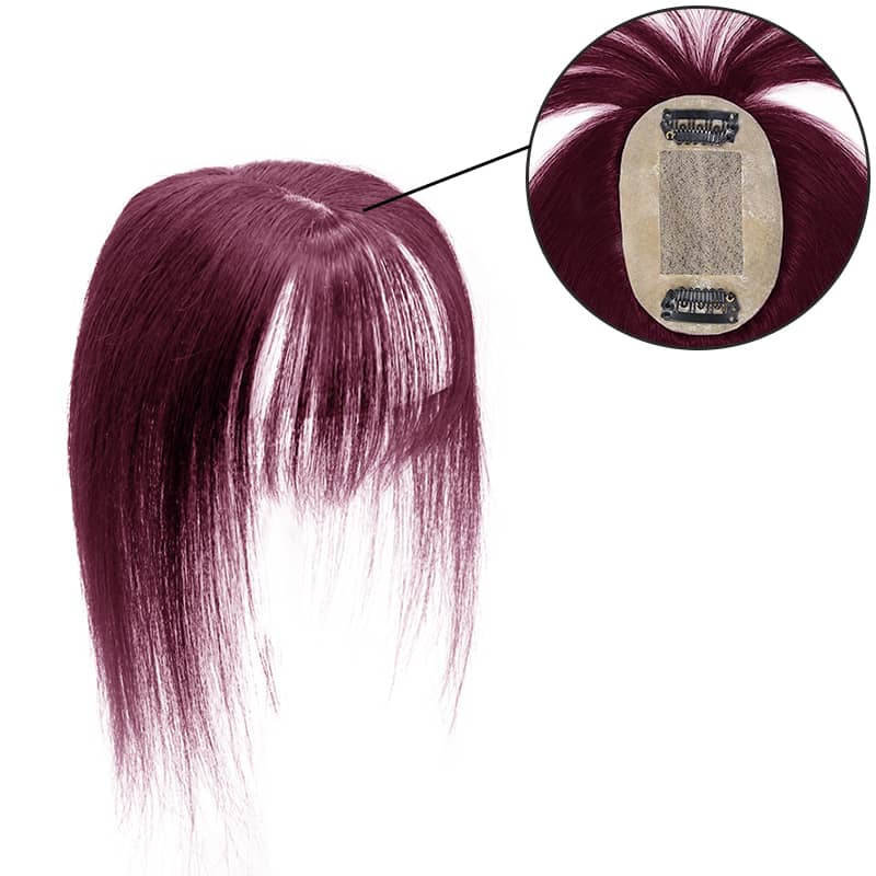 E-litchi Topper With Bang Human Hair Silk Base Wine Red Small Crown