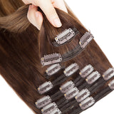 E-litchi Clip In Human Hair Extension Brown Balayage Blonde Multi Wefts