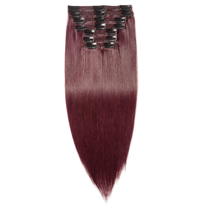 E-litchi Clip Ins Human Hair Extension Multi-Wefts Wine Red