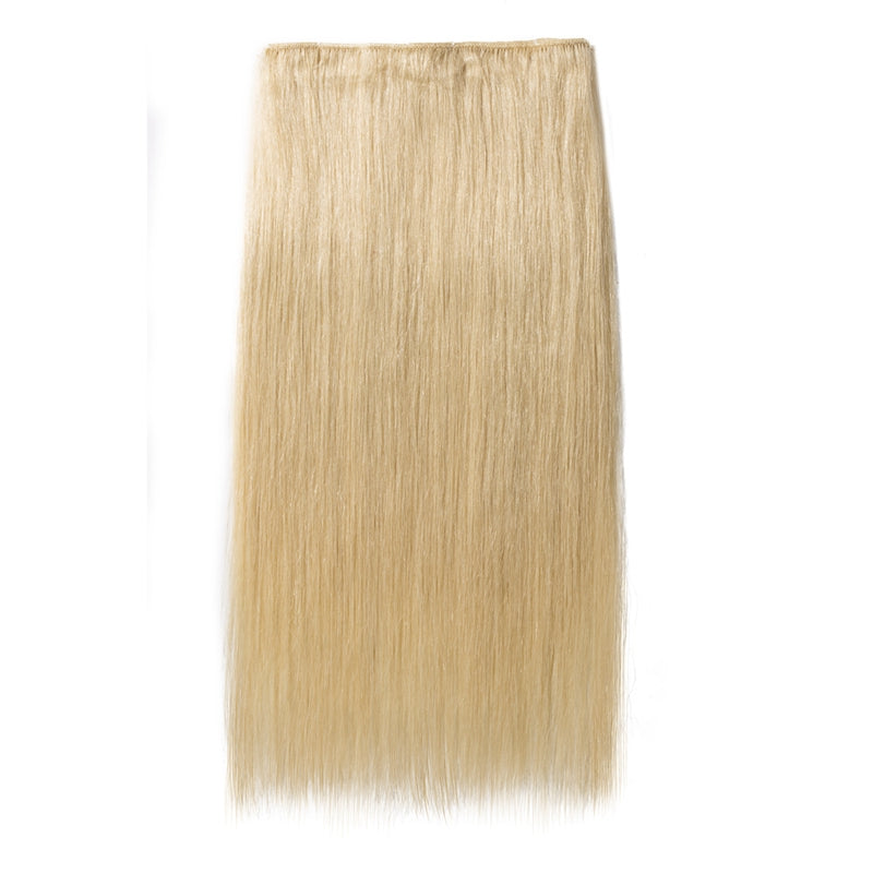 Blonde Clip In Human Hair Extensions Natural Straight Multi Wefts