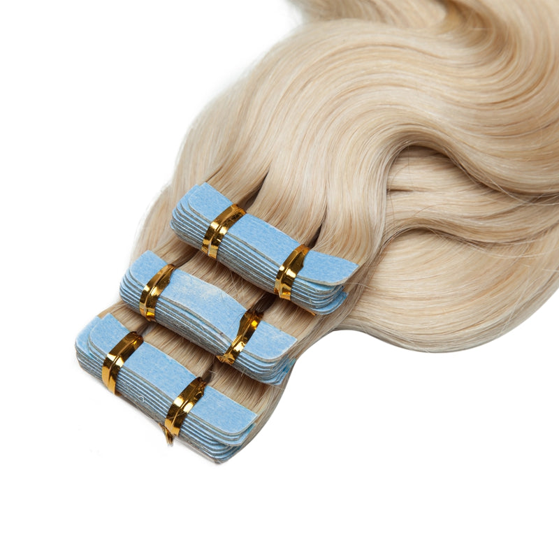 Tape In Human Hair Extension Body Wave Bleach White