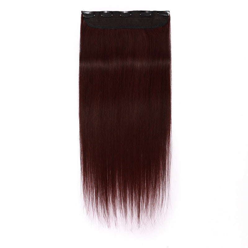E-litchi Clip Ins Human Hair Extension Single Weft Wine Red