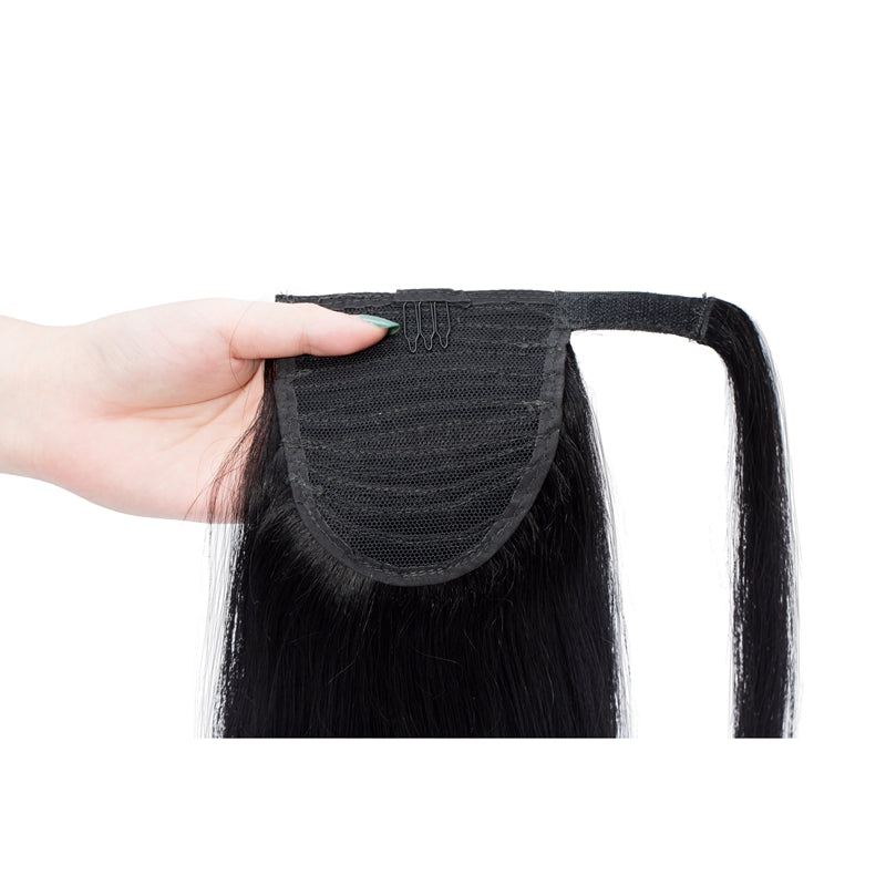 E-litchi Ponytail Human Hair Extensions Straight Wrap Around Jet Black
