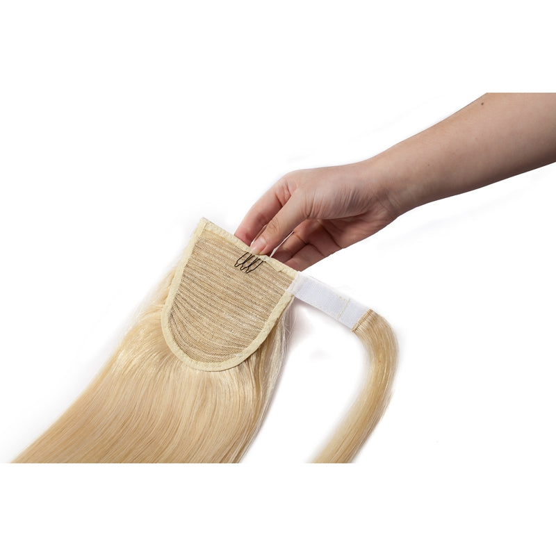 Ponytail Human Hair Extensions Straight Bleach Blonde Wrap Around