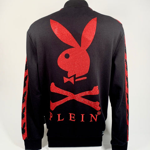 Philipp Plein felpa zip, bande brillanti rossi. PROJECT PLAYBOY. XL e XXL