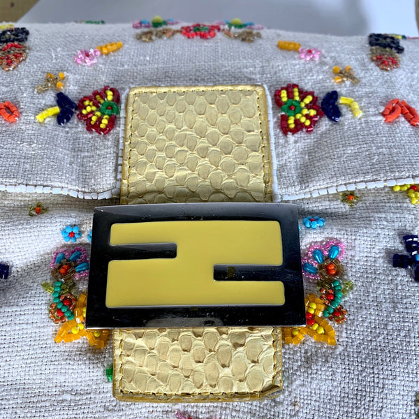 Fendi, Mamma bag in tela e perline, Limited edition