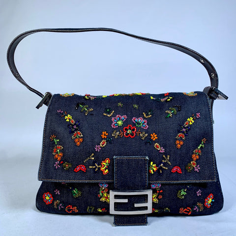 Fendi, Mamma bag in denim e perline, Limited edition